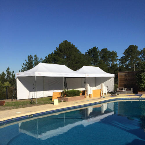 3m x 12m marquee by a pool